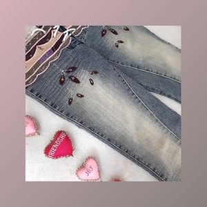 DOLLHOUSE Embroidered flared shaded jeans (free shipping)